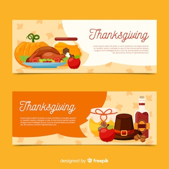Thanksgiving day banner set