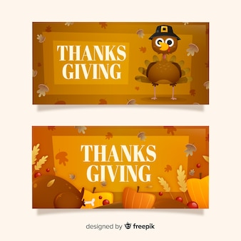 Thanksgiving day banners concept for template
