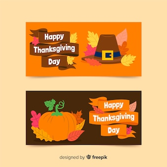 Thanksgiving day banners flat design for template