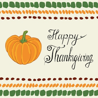 Thanksgiving day calligraphic poster with pumpkin. vector banner.