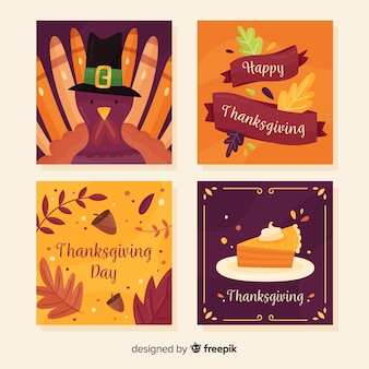Thanksgiving day card collection in flat design