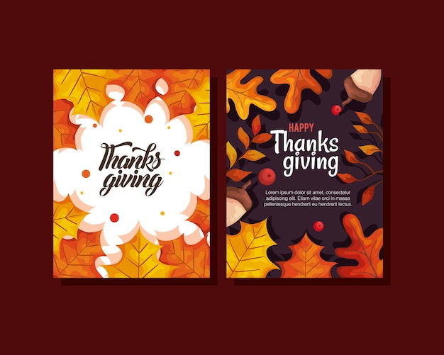 Thanksgiving day cards with autumn leaves and acorns design, season theme  illustration