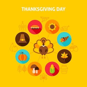 Концепция дня благодарения. векторные иллюстрации. осенний праздник инфографики.