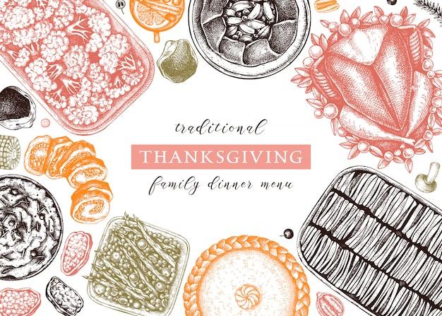 色で感謝祭のディナーメニュー。七面鳥のロースト、調理された野菜、巻き肉、野菜、ケーキのスケッチ。ヴィンテージ秋フードフレーム。感謝祭の日のテンプレートです。