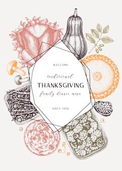 추수 감사절 저녁 메뉴 색상. 구운 칠면조, 조리 된 야채, 구운 고기, 베이킹 케이크 및 파이 스케치. 빈티지 가을 음식 화환. 추수 감사절 배경입니다.
