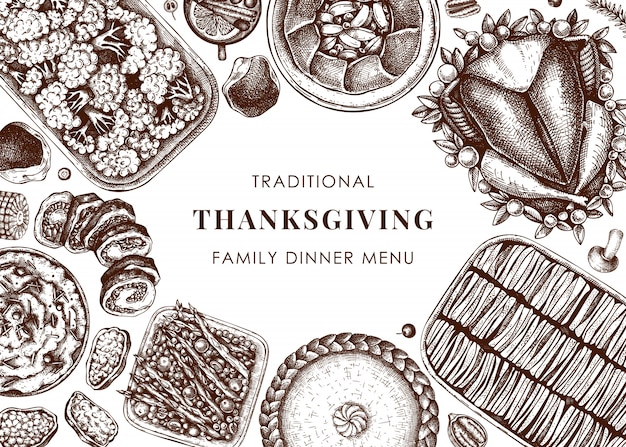 感謝祭のディナーメニュー。七面鳥のロースト、調理された野菜、巻き肉、野菜、ケーキのスケッチ。ヴィンテージ秋フードフレーム。感謝祭の日のテンプレートです。ベクトルイラスト。