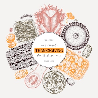 Thanksgiving day dinner menu round  in color. with roasted turkey, cooked vegetables, rolled meat, baking cakes and pies sketches. vintage autumn food wreath.  thanksgiving day background.