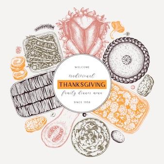 추수 감사절 저녁 식사 메뉴는 색상이 둥글다. 구운 칠면조, 조리 된 야채, 구운 고기, 베이킹 케이크 및 파이 스케치. 빈티지 가을 음식 화환. 추수 감사절 배경입니다.