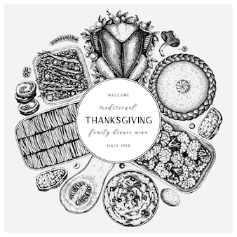 Круглый обед в день благодарения. с жареной индейкой, вареными овощами, мясным рулетом, выпечкой и эскизами пирогов. винтажный осенний пищевой венок. день благодарения фон.