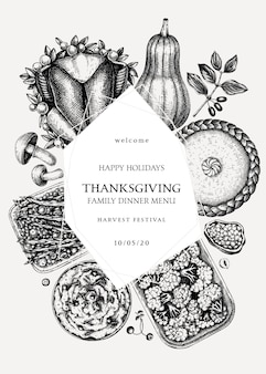 추수 감사절 저녁 식사 화환. 구운 칠면조, 조리 된 야채, 구운 고기, 베이킹 케이크 및 파이 스케치. 빈티지 가을 음식 템플릿입니다. 추수 감사절 배경입니다.