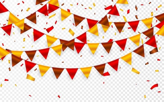 感謝祭の日、透明な背景に花輪の旗。赤茶色黄色の旗とホイル紙吹雪の花輪。