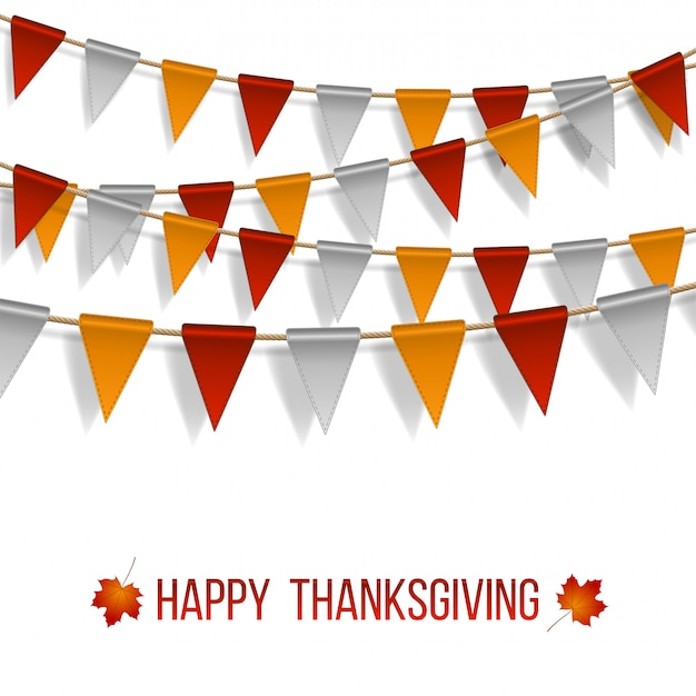 Thanksgiving day, flags garland on white background. garlands of red white yellow flags and two maple autumn leaves.  illustration.