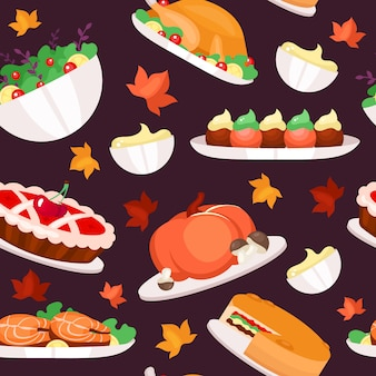 Thanksgiving day flat  seamless pattern.