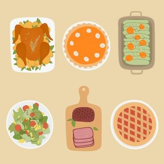 感謝祭の日の食べ物。感謝祭のお祝いの収穫のデザイン要素。