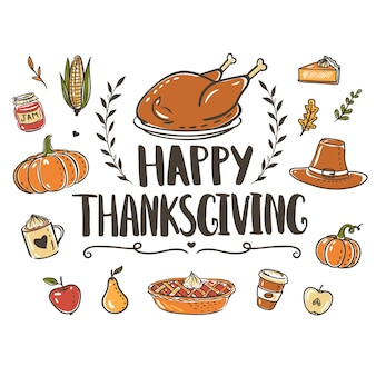 Thanksgiving day greeting card template with hand drawn lettering turkey pumpkin pie and other