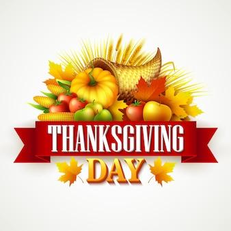 Biglietto di auguri per il giorno del ringraziamento con cornucopia piena di frutta e verdura del raccolto harvest