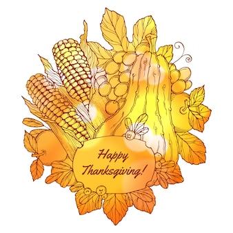 Открытка на день благодарения с ягодами ручной работы, овощами и фруктами с фоном боке
