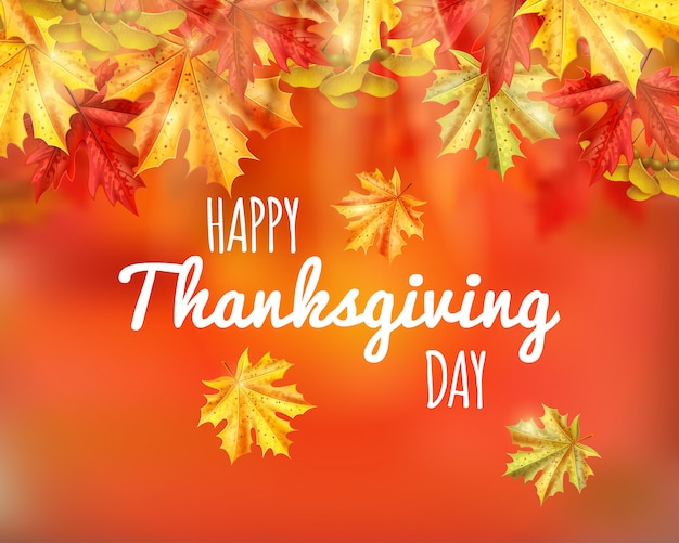Thanksgiving day greeting card with happy thanksgiving day