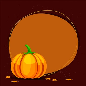 Thanksgiving Day greeting card with pumpkin.