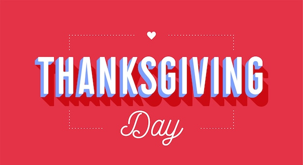 Thanksgiving day. greeting card with text thanksgiving day on red background. banner, poster and postcard for holiday thanksgiving day.  for greetning card, postcard, web.  illustration