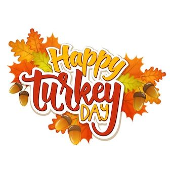 Thanksgiving day greetings and autumn leaves