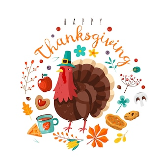Thanksgiving day. happy holidays poster with festive character. holiday turkey in hat, yellow leaves and fruits, berries and pumpkin pie with text vector flat cartoon postcard poster or banner