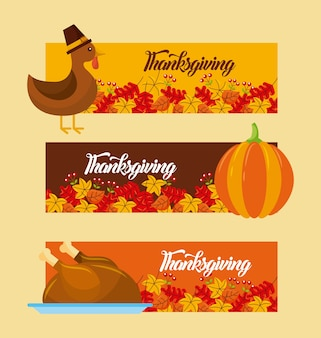 Thanksgiving day horizontal banner set with traditional food and leaves