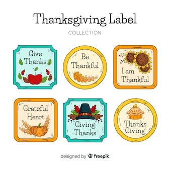 感謝祭の日のラベルのコレクションは、手描きのスタイルで