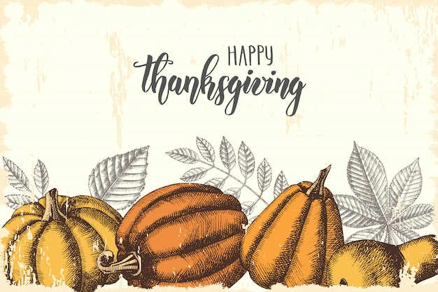 Thanksgiving day lettering calligraphy phrase. autumn background with leaves and pumpkins