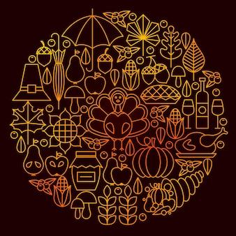 День благодарения значок линии круг концепции. векторная иллюстрация осенних объектов.