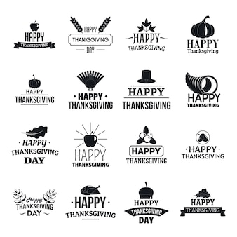 Thanksgiving day logo set