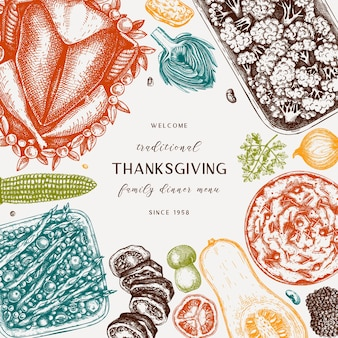 Thanksgiving day menu design in color  roasted turkey vegetables rolled meat baking cakes pies