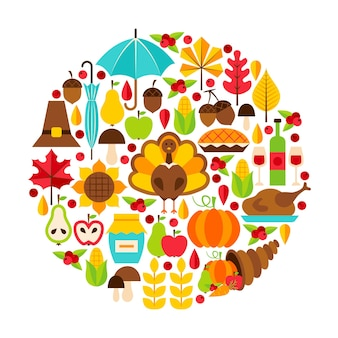 Thanksgiving day objects concept. vector illustration. autumn holiday set isolated over white.