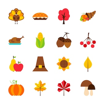Thanksgiving day objects. vector illustration. seasonal holiday set of items isolated over white.