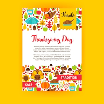 Thanksgiving day poster. vector illustration of brand identity. fall seasonal concept.
