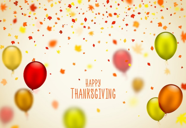 Thanksgiving day poster with balloons and leaves