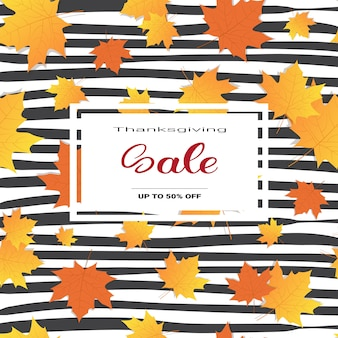 Thanksgiving day sale autumn traditional shopping discount seasonal price off banner