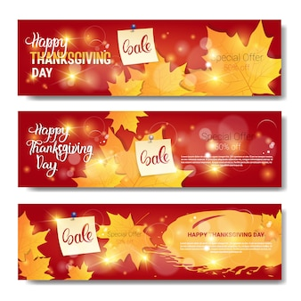 Thanksgiving day sale autumn traditional shopping discount seasonal price off banners set