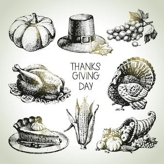 День благодарения установлен. ручной обращается старинные иллюстрации