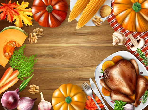 Thanksgiving day still life composition background with festive dishes on table turkey corn pumpkin vector illustration