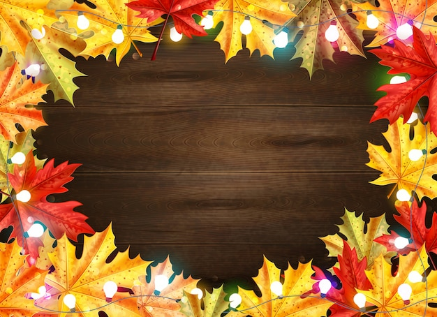 Thanksgiving day stylish frame with maple leaves and lights on dark brown wooden background vector illustration
