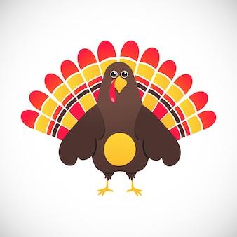 感謝祭のシンボル赤い羽七面鳥フラットスタイルグラデーションデザインベクトルイラスト