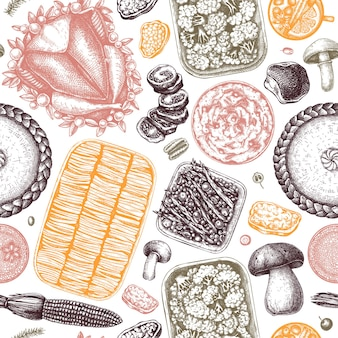 Thanksgiving day table seamless pattern