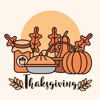 Thanksgiving day, traditional food pumpkins cake and leaf card vector illustration