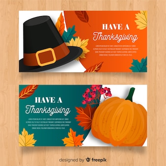 Thanksgiving day turkey banner set with pumpkins