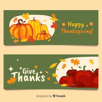 Thanksgiving day turkey banner set with pumpkins