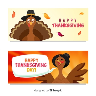 Thanksgiving day turkey banner set