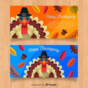 Thanksgiving day turkey banner set
