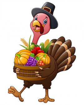 Thanksgiving day a turkey holding basket full of fruits