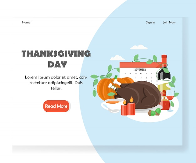 Thanksgiving day vector website landing page banner template
